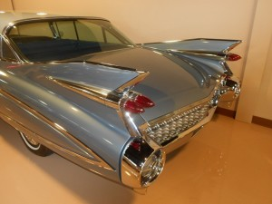 The massive tailfins on the 1959 Cadillac Fleetwood Sixty Six