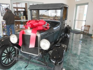 Model T decorated for the holidays