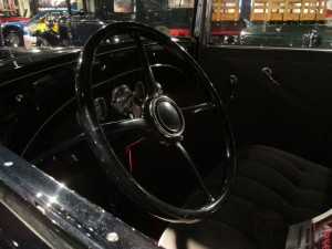 1930 Oldsmobile Deluxe front seat interior.
