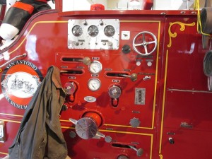 controls on fire pumper truck